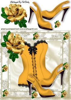 PRETTY GOLD ROSE WITH BASQUE SHOES 8X8 on Craftsuprint - Add To Basket!