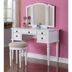 Tri Folding Mirror Vanity Set Makeup Table Dresser w/ Stool 5 Drawer White Wood | Best Sellers | Best Deals