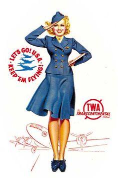 Flight Attendant Art Print (11 x 14) | Golden Age of Travel Art Prints