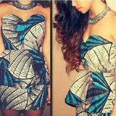 African print strapless peplum dress