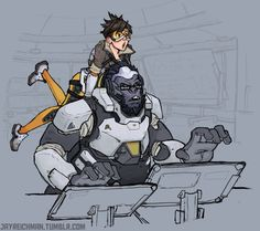 Overwatch- Tracer and Winston.