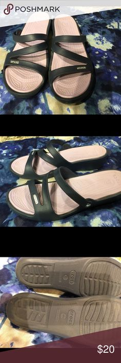 """Crocs Women's size 9 Women's Crocs, size 9 Navy blue, with 2"""" heel. I wore them once but the previous pair I had were flats. Like new condition, no dirt or wear marks. CROCS Shoes Mules & Clogs"""