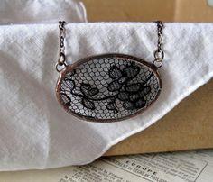 Black Lace Pendant Necklace by ThatOldBlueHouse2 on Etsy