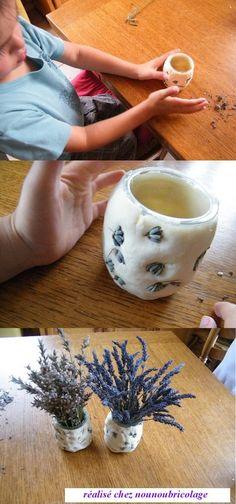 vase en pate à sel et lavande