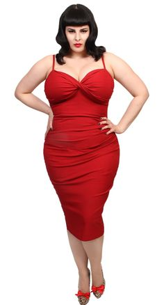 This dress is known for hugging curves and looking awesome on all shapes and sizes! It is ultra form fitting but the stretch millennium fabric makes it oh so comfortable, and flattering. #BlameBetty #PinUp #StopStaring!