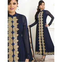 Panacea Blue Geogette Anarkali Suit with Santoon Bottom, Blue Color Nazneen Dupatta and Santoon Inner.It contained the work of Embroidery with lace border.The Salwar Suits Which can be customzied up to bust size 44