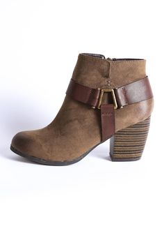 """The Maze Buckle Boot is oh so trendy, with its olive green wash, contrasting brown buckle detail, and chunky block heel. Toe: Round. Style: Boho. Closure: Inside zip. Brown buckle detail. Burnished toe. Oil rubbed finish. Chunky heel. Normal width.    Dimensions:3"""" heel height. 5"""" shaft height.   Maze Buckle Boot by Qupid. Shoes - Booties - Heeled Georgia"""