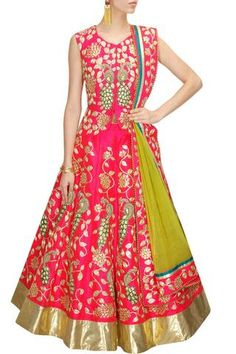 Rock you wedding/ reception with this Pink Bridal #LehengaCholi with gota patti and pearl peacock motifs.