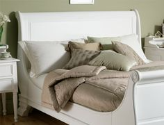 Bordeaux French Style White Wooden Sleigh Bed - King Size Bed Frame Only
