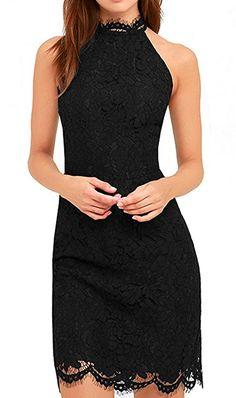 Lace Dress,V'SHOW Elegant High Neck Sheath Black Cocktail Dresses for Women Wedding Party US 4