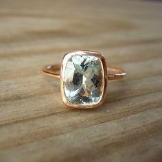 Jewels / Ocean Blue Aquamarine Gemstone Cushion in by onegarnetgirl on Etsy