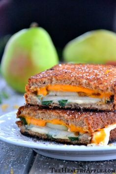 Grilled cheese, basil, and pear sandwich