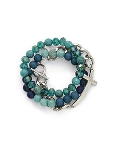 Cookie Lee Jewelry - Aqua Silver Cross Bracelet Set $34.00