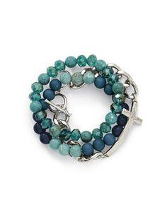Cookie Lee Jewelry - Aqua Silver Cross Bracelet Set $34.00