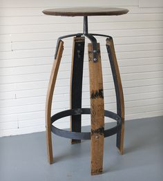 Reclaimed Bourbon Barrel Bar Table in Home Furniture by Maynard Studios on Scoutmob Shoppe. Rustic, elegant end table made from reclaimed bourbon barrels and hand-forged and hammered steel in a blacksmith's shop in Central Kentucky. #table #reclaimed #wood