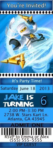 Ninjago Birthday Ticket Style Invitations | Kustom Kreations Lego Birthday Invitations, Admit One, Youre Invited, Party Time, Kustom, Ticket, Style, Swag, Outfits