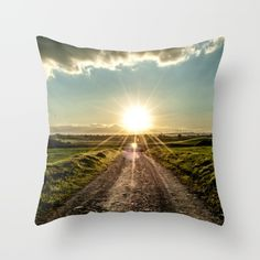Throw Pillow made from 100% spun polyester poplin fabric.home, nature, natural, landscape, grass, sun, sunset, sunrise, clouds, sky, road, peace, rays, photo, photograph, photography, art print, wall art, wall tapestry, home decor, decoration, decoracao, decorative, positive, faith, beautiful, day