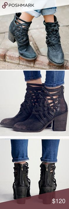 """NWOT Free People """"Carrera"""" Distressed Bootie New washed leather block heel boots with basket-weave detailing up the ankle. Zip backs for easy on/off. Modern and sartorial styles, artisan crafted from fine leathers and premium materials, FP Collection shoes are coveted for their signature cutting-edge aesthetic and these booties are just that. Easy to pair with jeans or a dress. Free People Shoes Ankle Boots & Booties"""