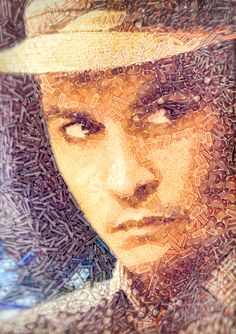 •Johnny Depp as Paul Kemp in the film «The Rum Dairy»  [Portrait collage made of 6000 Rum bottles] by Arseny Samolevsky