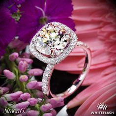 This one of kind Simon G MR2132 Passion Diamond Engagement Ring is part of the Passion Collection. It elegantly embraces a center diamond of your choice that is accentuated with a dazzling bead-set halo.