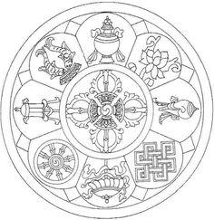 Le Mandala du Bonheur - Believe in Your Dreams Mandala Buddhist, Tibetan Mandala, Tibetan Art, Buddhism Symbols, Sacred Geometry Symbols, Symbol Tattoos, Mandala Design, Mandala Art, Art Buddha