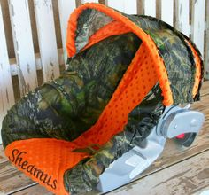 Mossy Oak and orange car seat cover and hood/ by SqueakyBugBabies, $54.00
