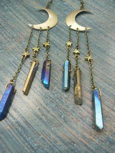 moon goddess earrings bohemian chic earrings by gildedingypsy