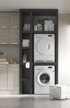 Gorgeous and Modern Built-In Laundry Storage