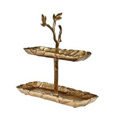 Heim Concept Gilt Leaf 2-tier Tray - Free Shipping Today - Overstock.com - 17702309