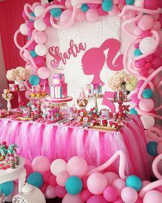 first birthday banner First Birthday Banners, 4th Birthday Parties, Birthday Bash, Girl Birthday, Birthday Ideas, Barbie Party Decorations, Barbie Theme Party, Barbie Birthday Party Games, Jojo Siwa Birthday