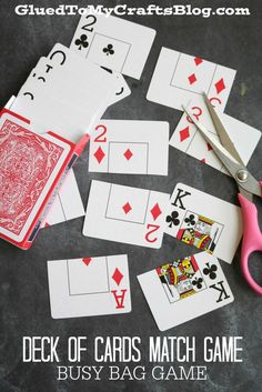 Deck of Cards Match Game - Busy Bag Idea - super simple! Great idea for those decks where few cards are missing!