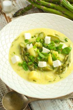 Wiosenna zupa z młodymi ziemniakami, szparagami i fetą Tortellini, Cheeseburger Chowder, Hummus, Feta, Risotto, Cantaloupe, Cooking Recipes, Chicken, Dinner