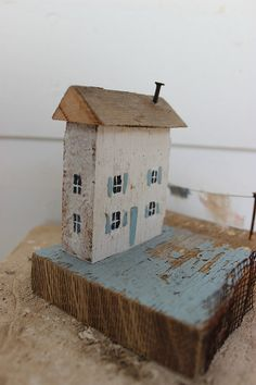 folk art mixed media 3 d little wooden house laundry by fadedwest,