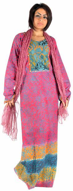 Aljalabiya.com: Printed cotton Jalabiya with silk thread embroidery, $85.00
