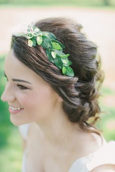 a living leafy green headband #hair #inspiration Photography: Heather Hawkins Photography - heatherhawkinsphoto.com Read More: http://stylemepretty.com/2013/10/09/burleson-texas-wedding-from-heather-hawkins-photography/