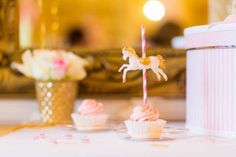 Cupcake from a Carousel Baby Shower via Kara's Party Ideas | KarasPartyIdeas.com The Place for All Things Party! (16)