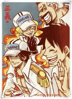 Garp, Ace, Sabo and Luffy if ASL were marines One Piece Anime, One Piece Comic, One Piece Fanart, Film Manga, Fanart Manga, One Piece Pictures, One Piece Images, Fanarts Anime, Anime Characters