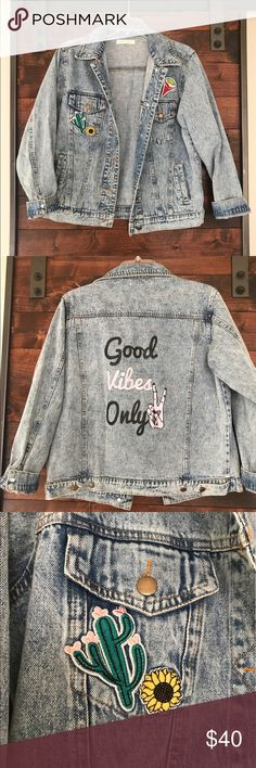 """Patched Vintage Jean Jacket Vintage jean jacket with patches and """"good vibes only"""" logo on the back; SUPER CUTE ON; slightly baggy but not too oversized; NWOT never worn Jackets & Coats Jean Jackets"""