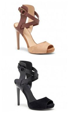 Strappy peeptoe heels with crisscrossing straps and a buckle detail.