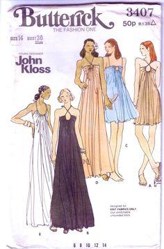 John Kloss Dress Vintage Sewing Pattern. 1970's Maxi Dress.  VintagePatternCo