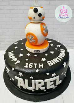 Robo BB-8 Cake (Star Wars) Sweet Cakes, Fondant, Bb, Star Wars, Birthday Cake, Desserts, Cakes, Tailgate Desserts, Fondant Icing