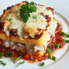 "An authentic polenta ""lasagna"" casserole from the Campania region of Southern Italy."