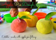 fall apple play dough recipe...guess what we are doing next weeeekkk!! Iffy on the ediable part though