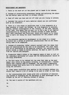 anarchitecture: Reductionist Art Manifesto.