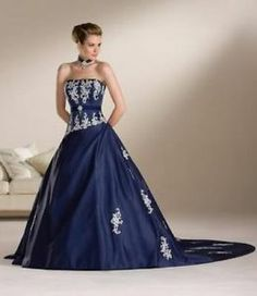 navy blue wedding dresses. If I could find these in red, this ...