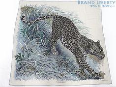 美品 エルメス カレ140 PANTHERA PARDUS アニマル 豹 レオパード 大判 カシミア ストール ショール スカーフ シルクの1番目の画像