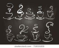 Set of stylized coffee cups on a chalkboard. - Coffee Set - Ideas of Coffee Set - Set of stylized coffee cups on a chalkboard. Coffee Chalkboard, Chalkboard Wall Art, Chalkboard Doodles, Chalkboard Drawings, Chalkboard Lettering, Chalkboard Designs, Chalk Drawings, Chalkboard Art Kitchen, Chalkboard Restaurant