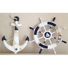 Fotoğraf açıklaması yok. Beach Themed Crafts, Sea Crafts, Seashell Crafts, Home Crafts, Beach Bedroom Decor, Seaside Decor, Nautical Home, Nautical Anchor, Wooden Art