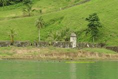 The old fort at Portobelo Bay.  The Spanish had a huge chain across the bay that would seriously harm ships who were trying to come into the bay to attack.  If you look closely, there are still cannons at the forts!   #Panama Roadrunner can take you to see these old forts!