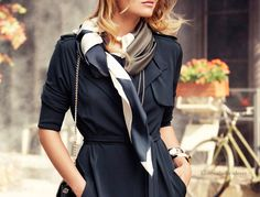 Wrap dress and black & white scarf